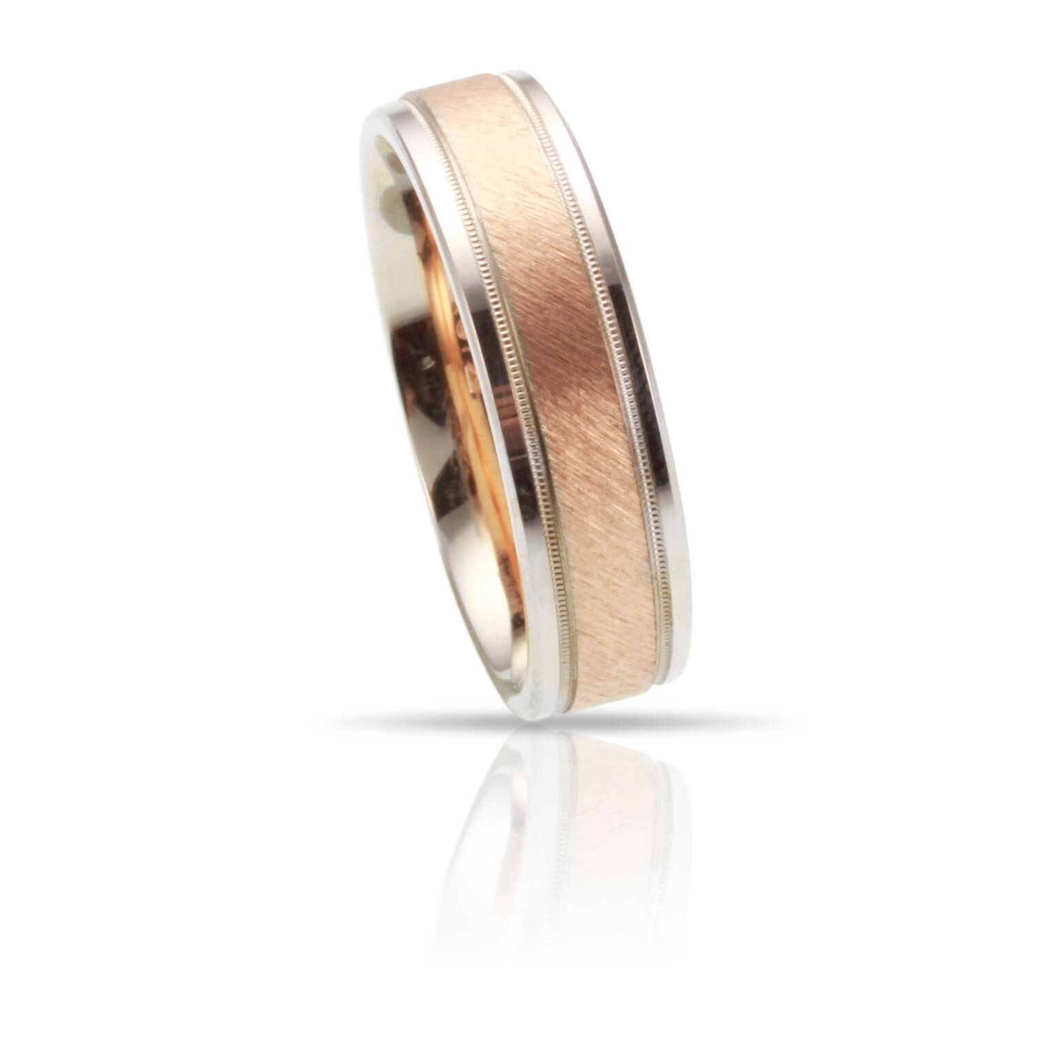 This 14k Two Tone Gold Wedding Band From Goldman Diana Features A