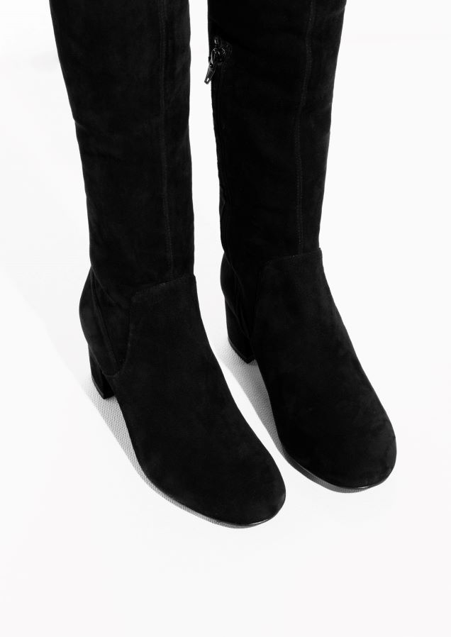 ca53da8a284   Other Stories image 2 of Suede Over The Knee Slim-Fit Boots in ...