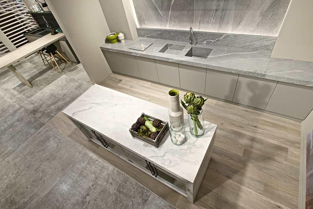 Plan de travail céramique imitation marbre FLORIM stone plan de