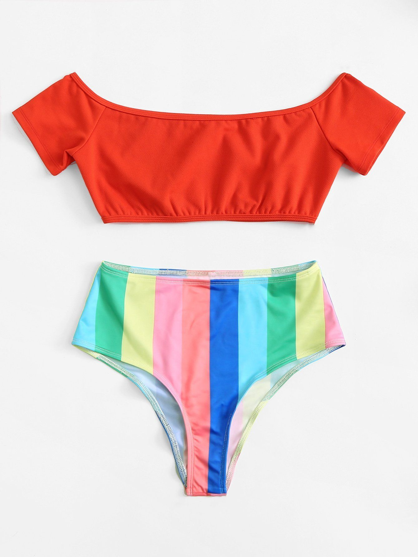 f26c8b027d7ff Ranbow Striped Off Shoulder Bikini Set