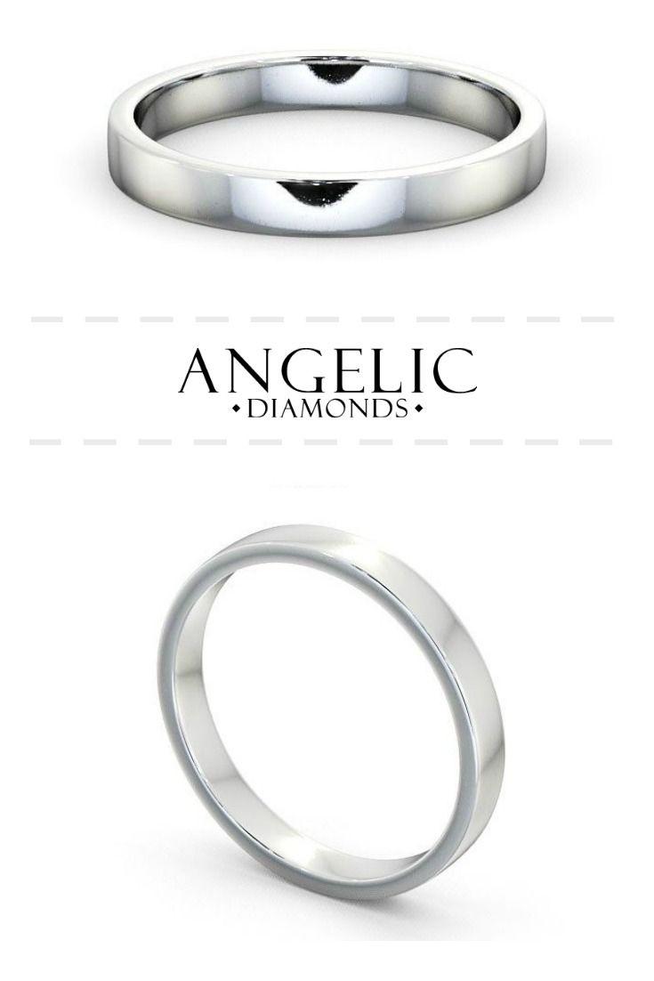 Ladies Plain Wedding Ring 18k White Gold Flat Round Diamond Wedding Rings Diamond Wedding Rings Beautiful Diamond Rings