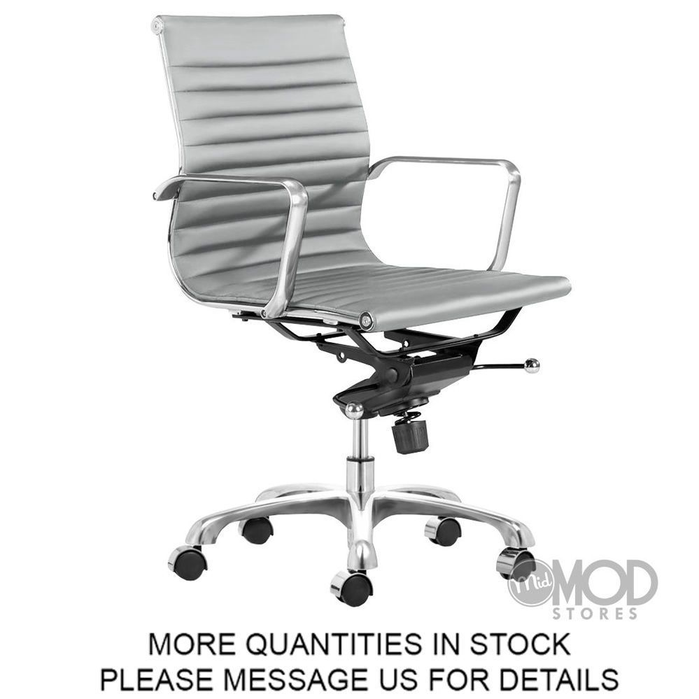 Lider Office Chair Aluminum Group Management Chair Mid Back Modern