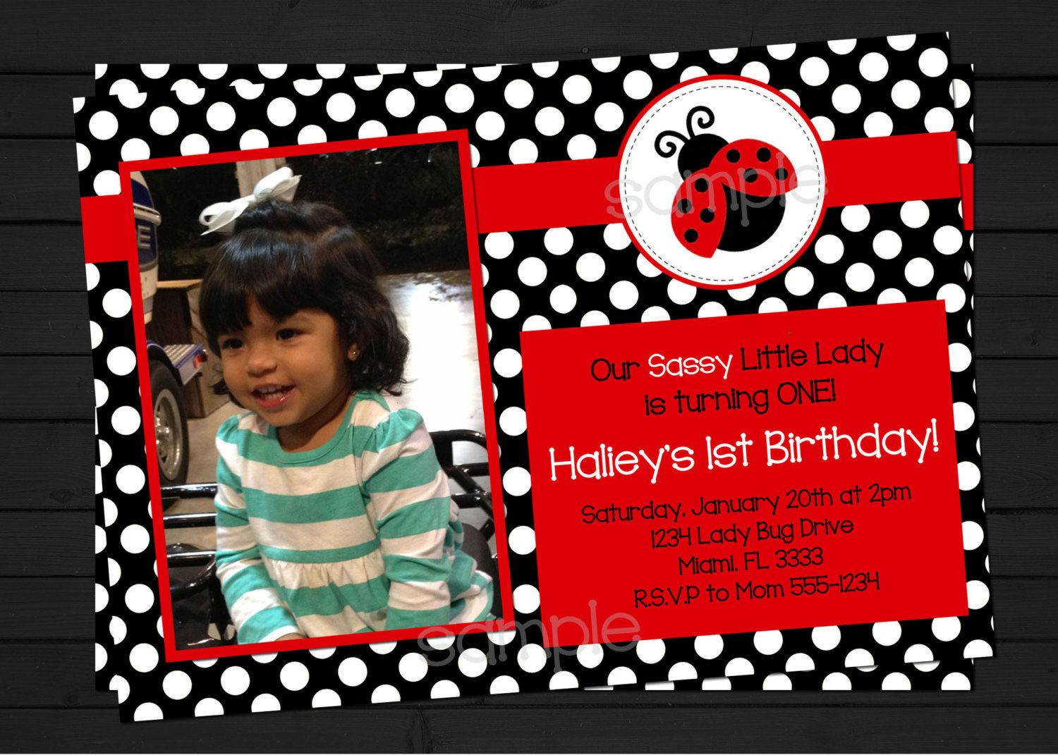 Lady Bug Birthday Invitation Digital File by