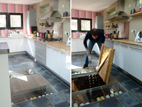 Cave a vin vue transparente depuis cuisine home - Vide sanitaire cuisine ...