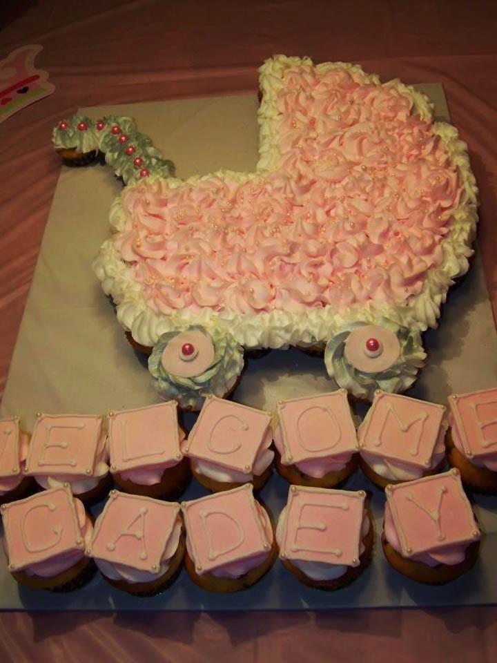 Wonderful Girl Baby Shower Pull Apart Cake | Baby Shower Pull Apart Cupcake Cake!  From .