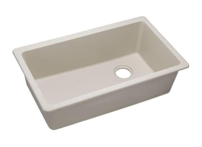 "Elkay ELGU13322 Gourmet 33"" Single Basin Granite Composite Kitchen Sink for Unde Bisque Fixture Kitchen Sink Granite"