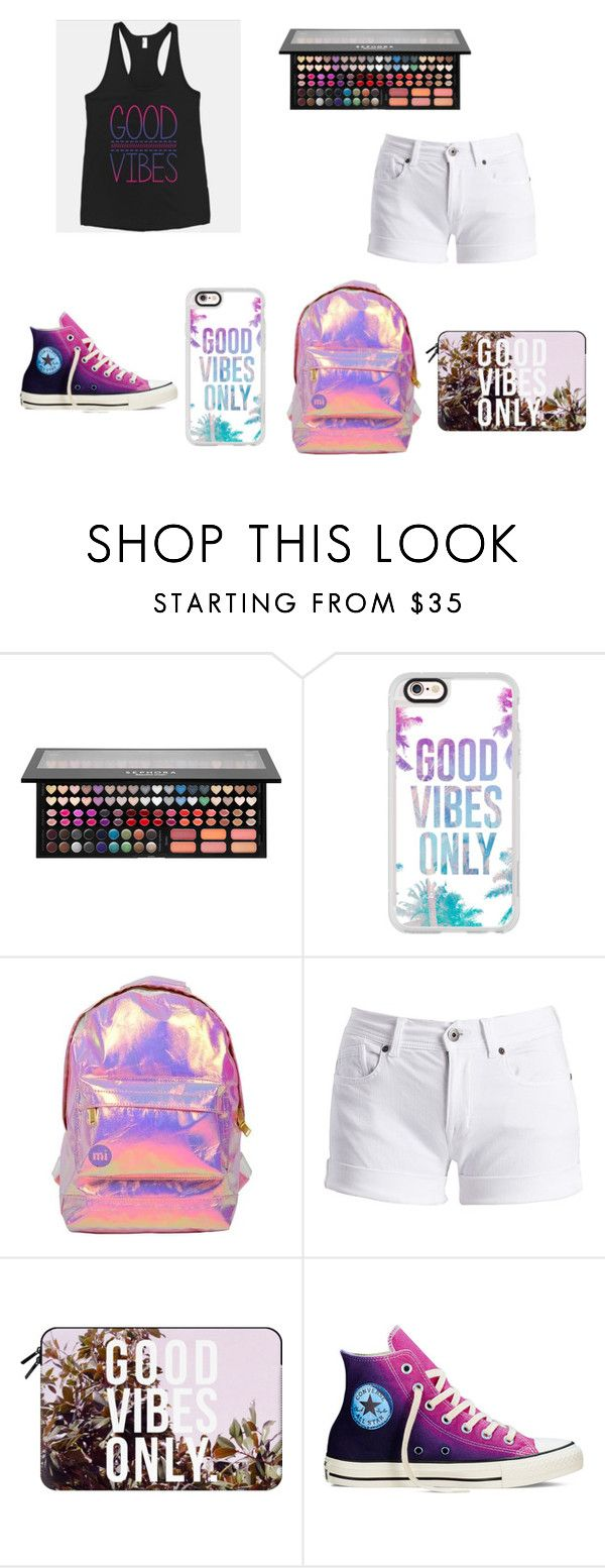 """""""Good vibes only"""" by sadie-loehr on Polyvore featuring Sephora Collection, Casetify, Miss Selfridge, Barbour International and Converse"""