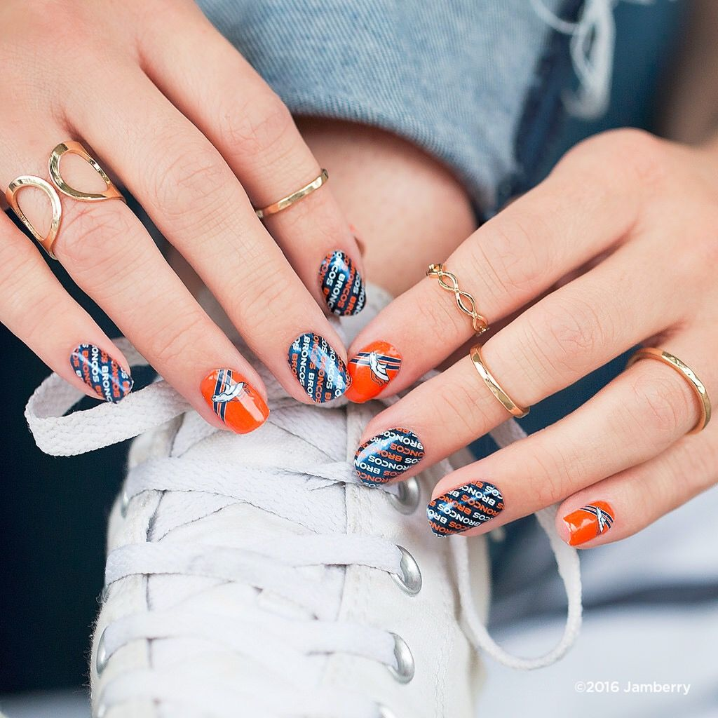 Denver Broncos Mixed Mani | Jamberry  Find all your favorite teams here: https://jackieshaw.jamberry.com/us/en/shop/shop/for/nail-wraps?collection=collection%3A%2F%2F1143