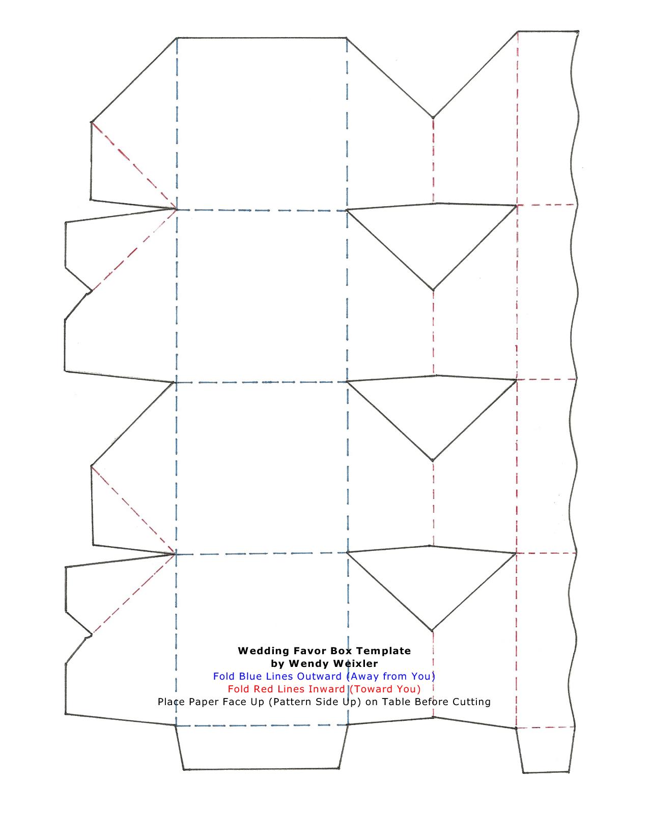 Wedding Favor Box Template by Wendy Weixler Fold Blue Lines | Favor ...