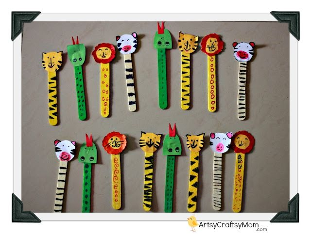 Popscicle Stick Animal Bookmark Ice Cream Bookmarks Crafts Age5 7 Age3 5 Age2 3 Craft Classes
