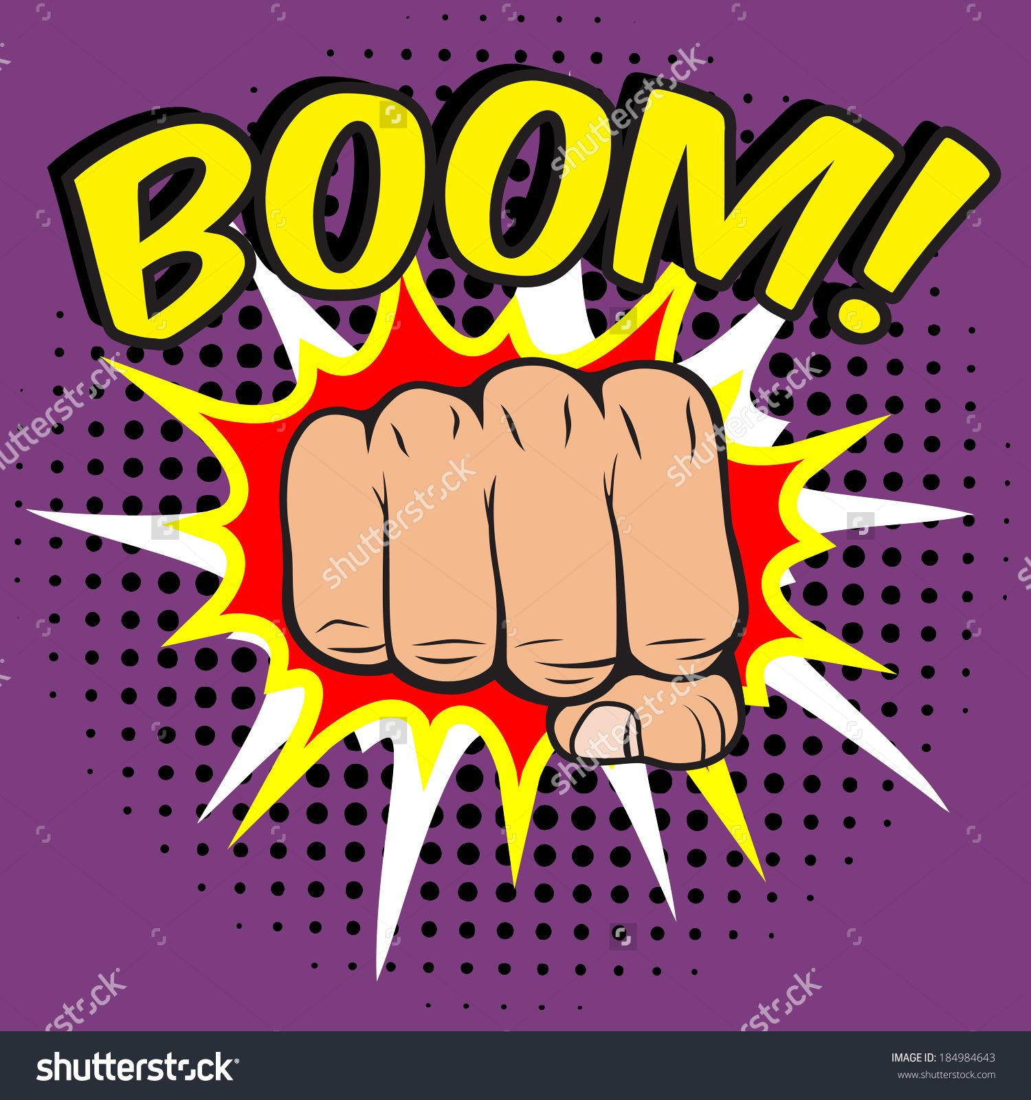 Pop Art Comic Poster With Boom Clenched Hand Fist Power Human Hit ...