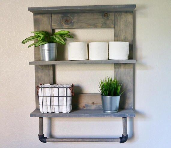 Towel rack, wood bathroom shelf, bathroom organizer, wooden towel ...