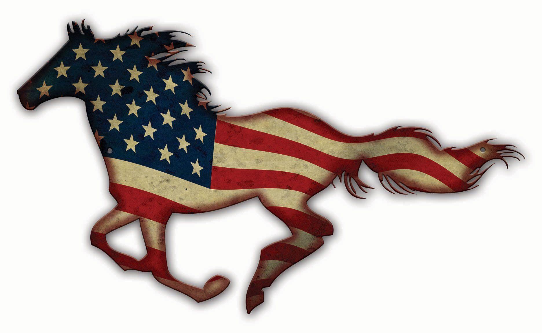 Usa United States Mustang Horse Flag Patriotic Art On Metal Etsy Horse Flags Mustang Horse Garage Art