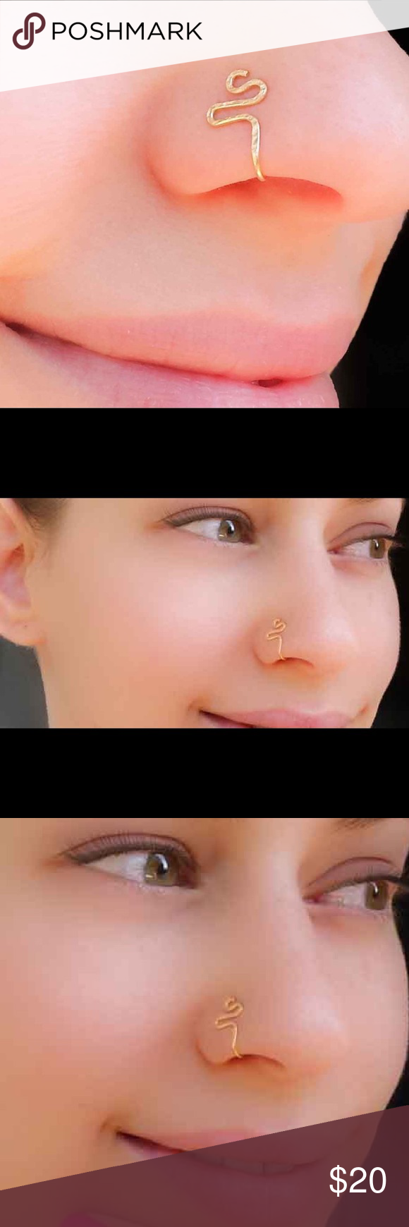 Eyebrow and nose piercing  saleClip on nose ring fake piercing cuff  Piercings y Nariz