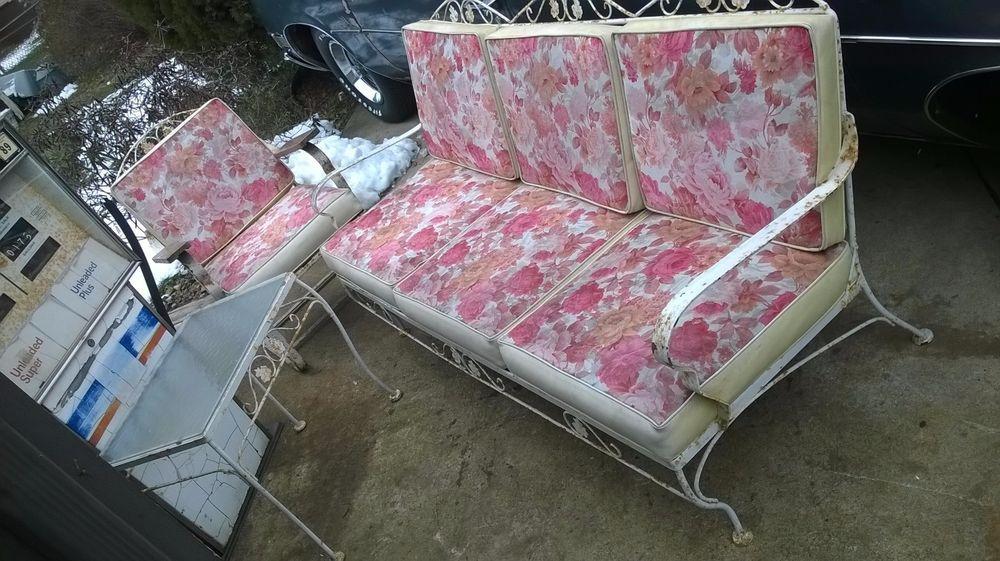 1962 Meadowcraft Iron Patio Set W Cushions Vintage Patio Furniture Patio Set Wrought Iron Patio Furniture