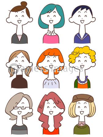 若い女性のイラストセット2 笑顔の写真 イラスト素材 Xf4415338841