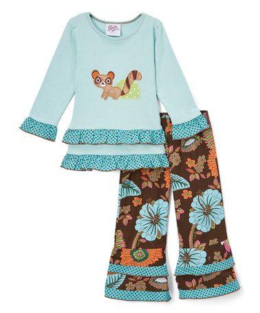 Blue Raccoon Top & Floral Pants - Infant, Kids & Tween #zulily #zulilyfinds