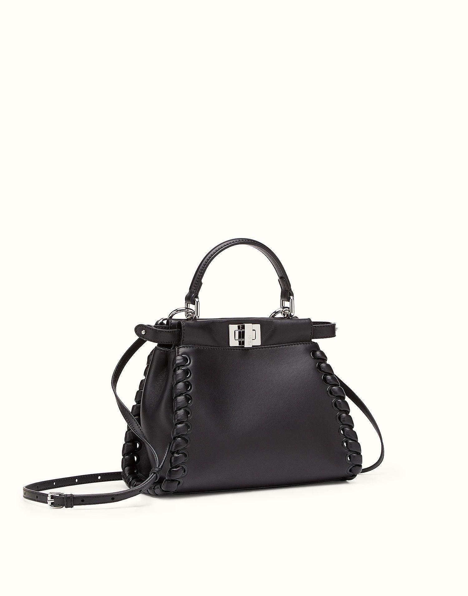 eb5270f0676e FENDI PEEKABOO MINI - black nappa handbag with weave - view 2 zoom