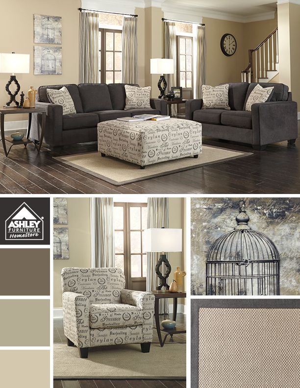 Love how the lighter tones compliment the softer charcoal What color furniture goes with beige walls