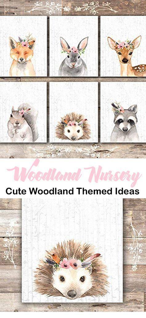 Adorable woodland wall print - wall decor - fox, rabbit, deer, squirrel, hedgehog, raccoon - Girl Woodland Nursery – For the Perfect Baby Room - girl room ideas- baby shower - animal theme - A More Crafty Life  #baby #babygirl #nursery #homedecor