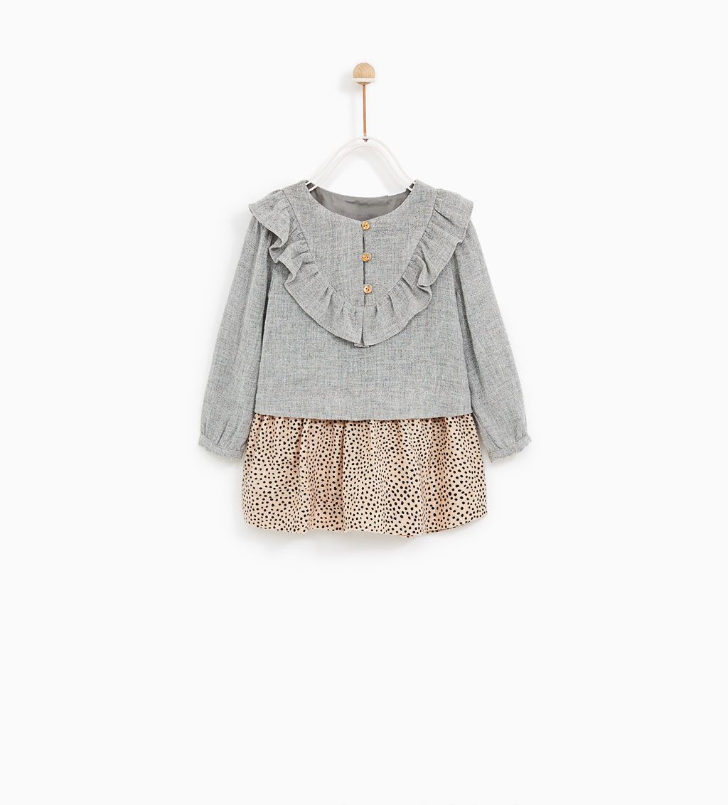 Contrast lace dress zara  VESTIDO COMBINADO VOLANTE  Frill dress Zara kids and Babies