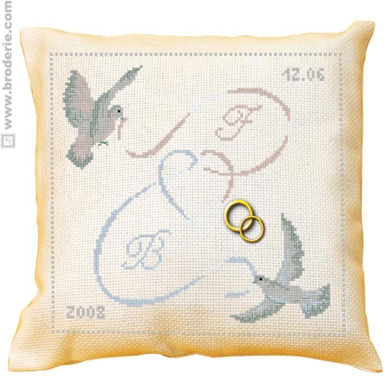 Coussin de mariage au point de croix gratuit recherche google wedding - Grille gratuite point de croix coussin de mariage ...