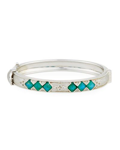 Jude Frances Moroccan Sterling Silver Hinge Bracelet with Amazonite/Moonstone Doublets, Size 7
