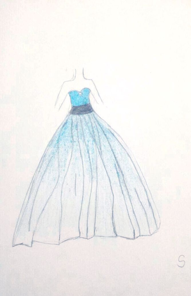 #dress #design #sketch #drawing #draw #blue