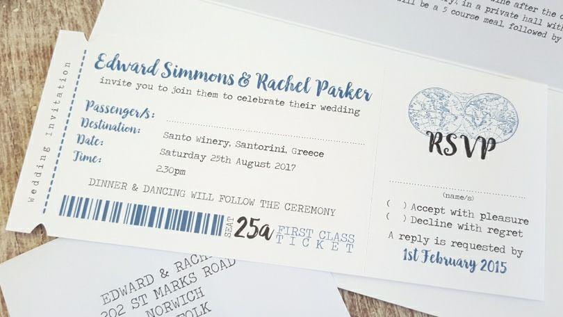 Travel Wedding Invite ◦ Boarding Pass Wedding Invitation ...