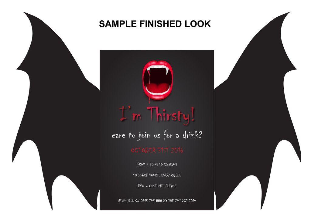 Halloween Party Invitations - Thirsty Vampire Personalised party - halloween invitation template