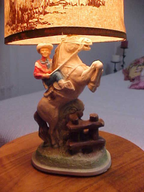 1950s Boys Vintage Chalkware Plaster Cowboy Table Lamp Roy Rogers Or
