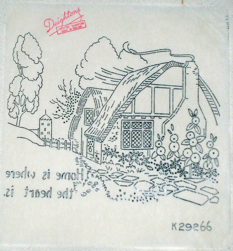 Vintage Deighton embroidery transfer - Thatched Cottage with Home ...