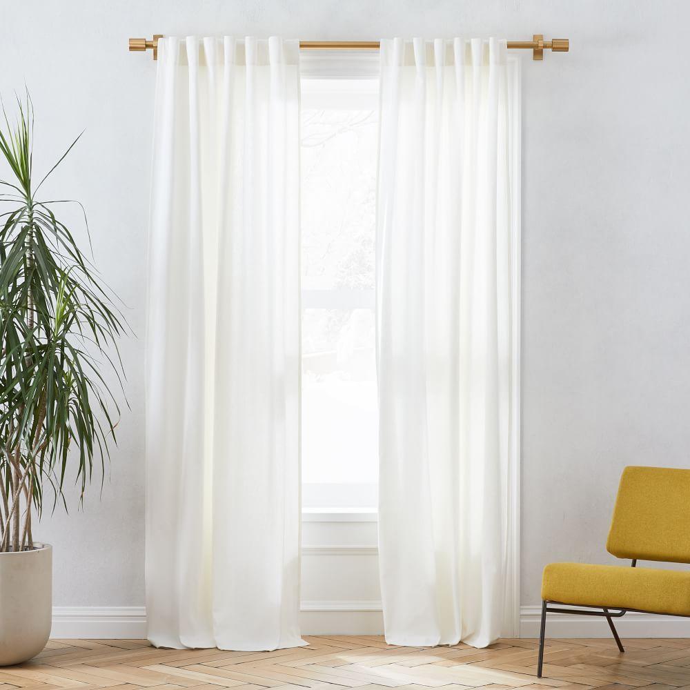 West Elm Linen Cotton Pole Pocket Curtain Blackout Panel White
