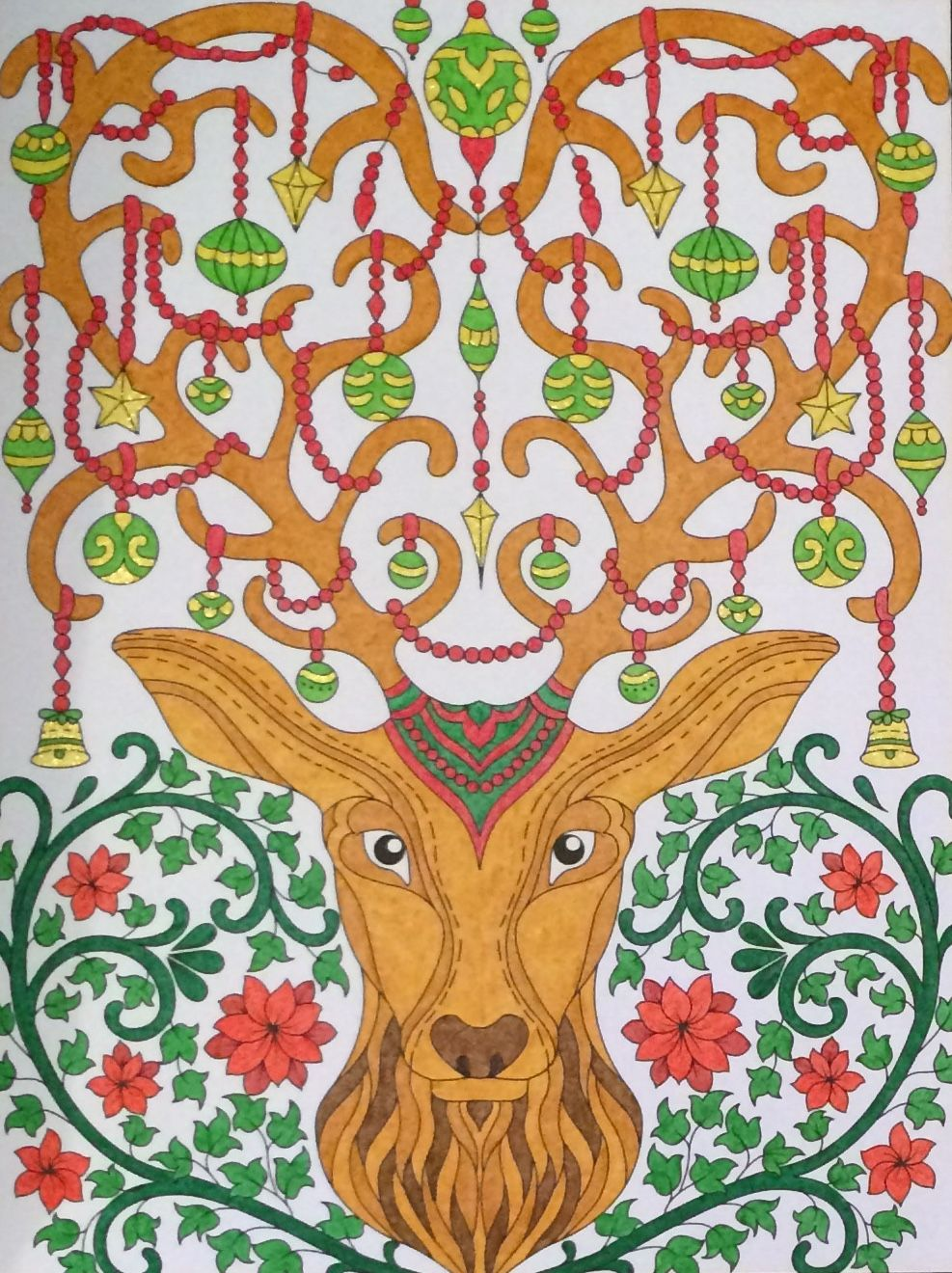 ornamental stag from jade summer christmas book coloured by laura
