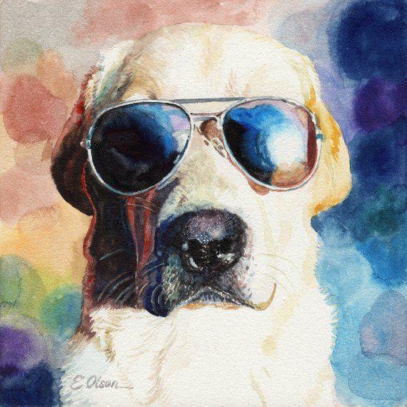 bf441b5a3fb ORIGINAL watercolor dog painting, Labrador Retriever watercolor, Dog ...