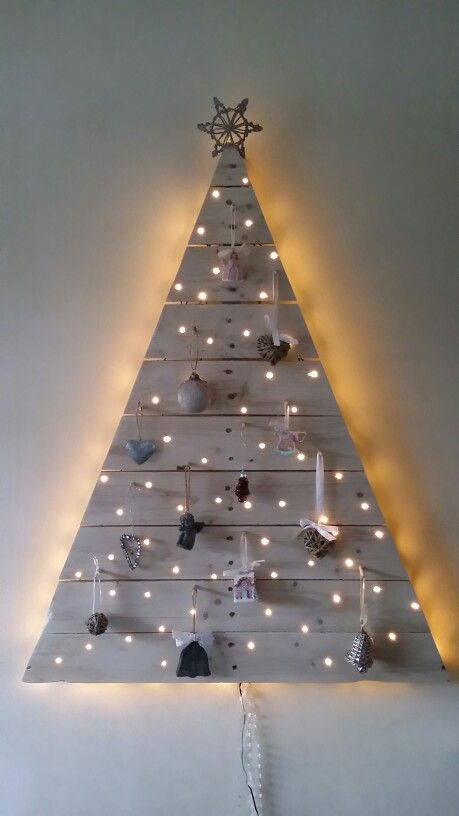 Our Wall Mounted Homemade Pallet Christmas Tree It Has A Whitewash Finish 100 Led S And Wall Mounted Christmas Tree Wall Christmas Tree Pallet Christmas Tree