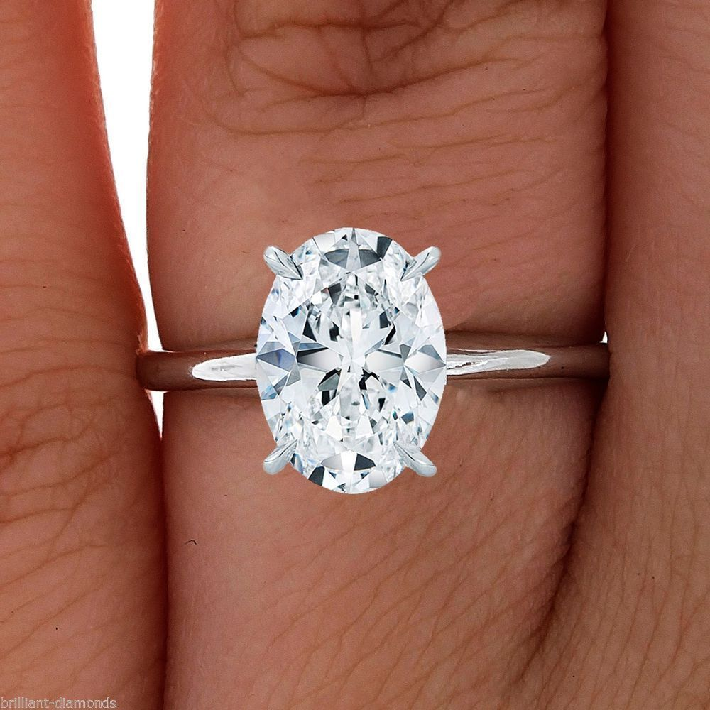 Amazing Oval Shape Solid Real 14KT Yellow Gold 3.10 Carat Solitaire Wedding Ring