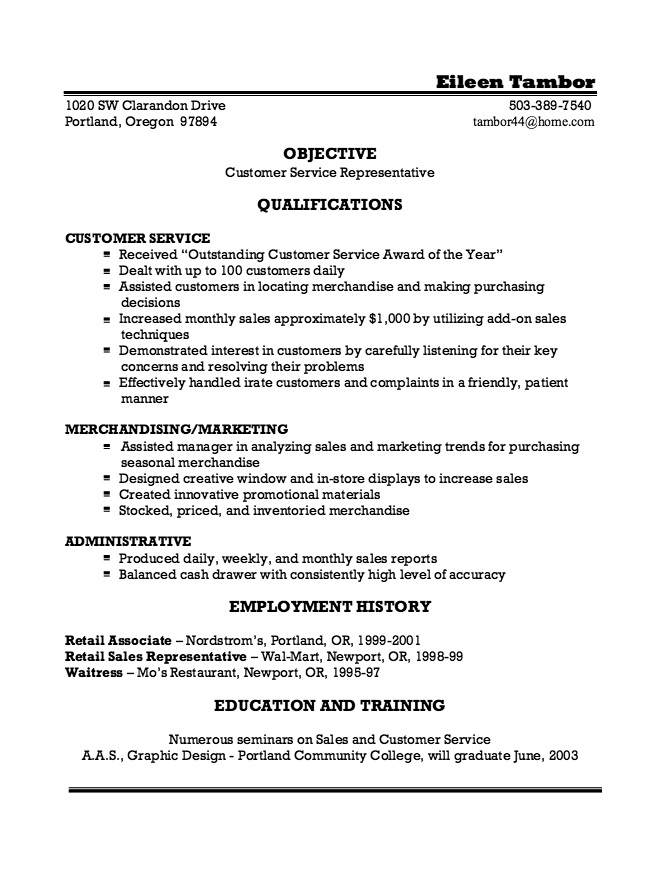 objective examples for resume waitressing