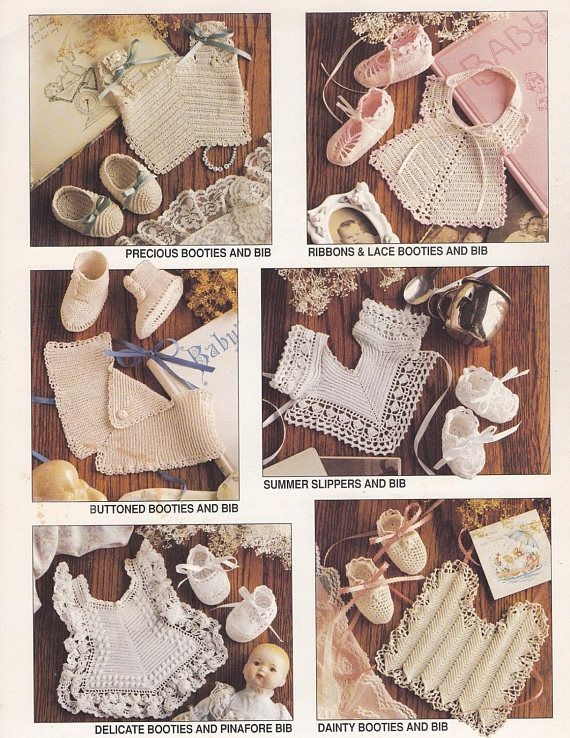 Antique Booties & Bibs, Annie\'s Attic Crochet Pattern Booklet 87B78 OOP