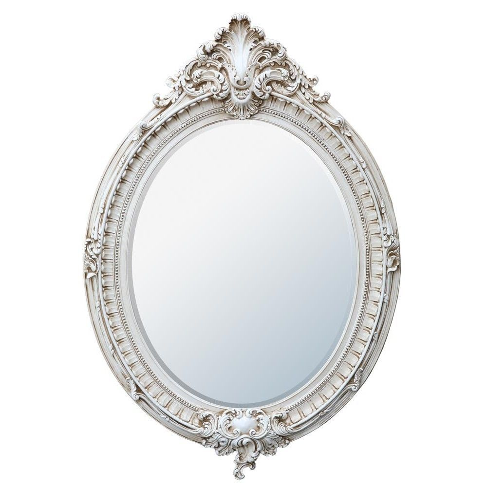 Antique White French Louis Rococo Oval Decorative Wall Mirror ...