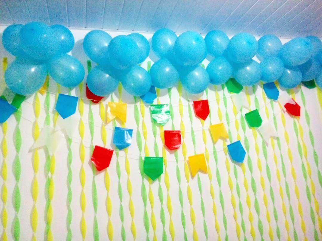 Papel Crepon Bandeirinhas Baloes Festa Junina Rapido