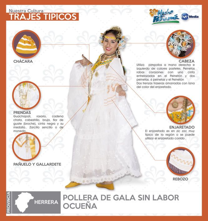 Pollera de Gala Ocueña | Folklore | Panama city panama ...