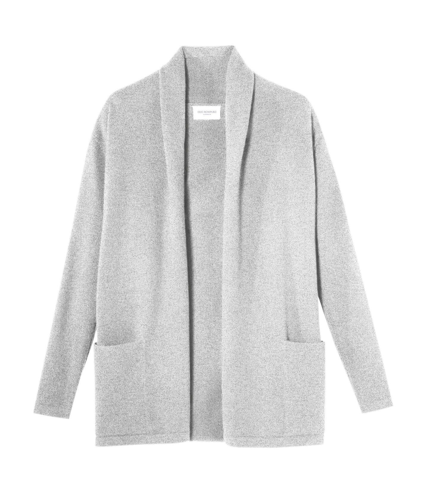 Cosy long grey cashmere cardigan. 100% cashmere by Eric Bompard ...