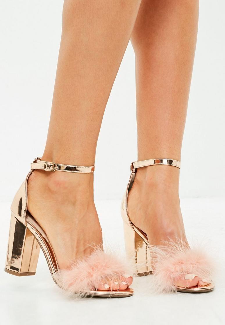 67f90612ab1 Gold Metallic Feather Mid Block Heeled Sandals