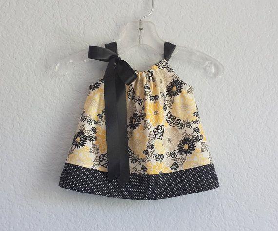 Baby Girls Yellow and Black Sun Dress  Lemon Yellow by dreambirds
