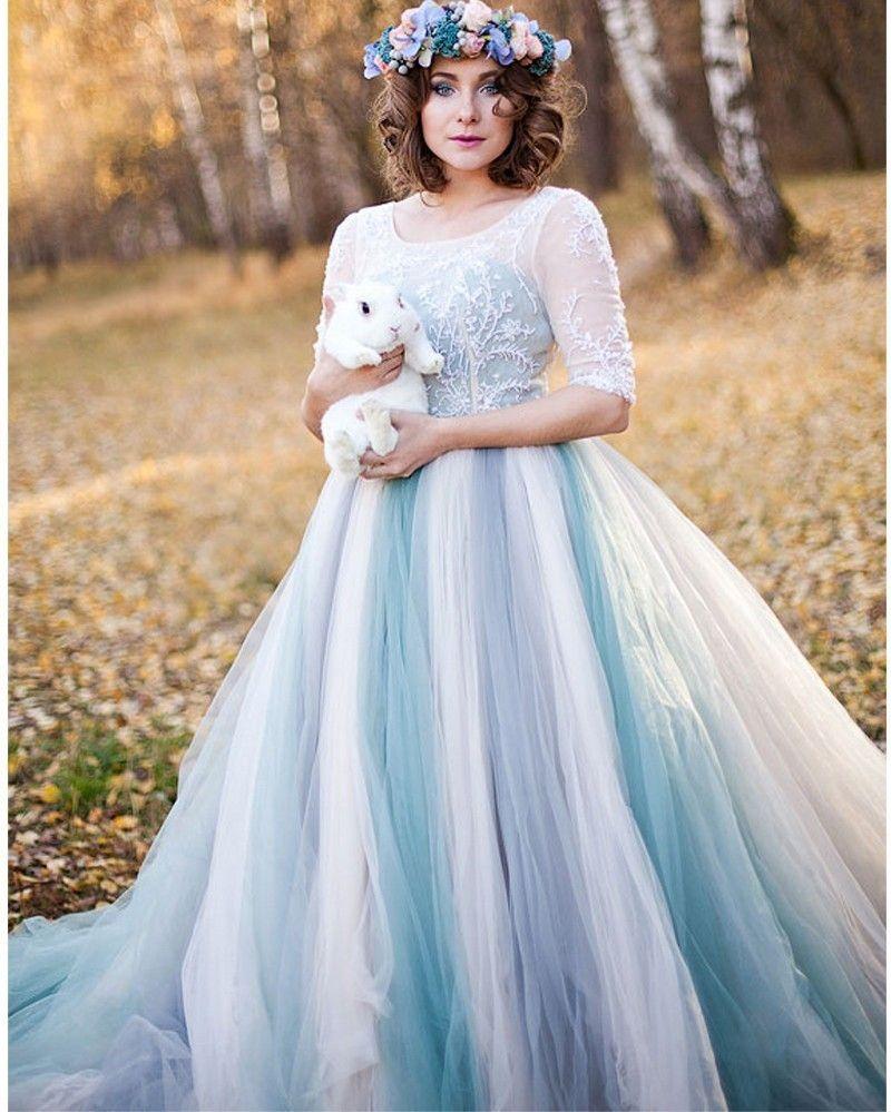 romantic light blue aline wedding dress elegant tulle beading
