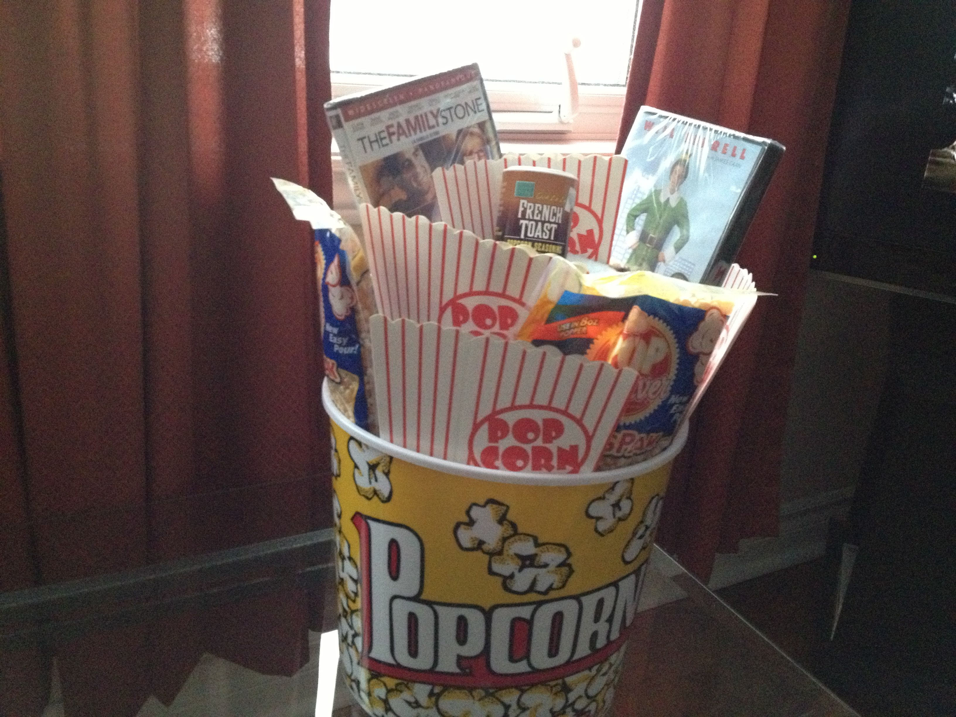 A Bucket Of Popcorn, Filled With A Throw, Popcorn, Christmas Movies,  Popcorn Spice And Popcorn Bags. Under 30$. Great For Unisex Gift Exchange.