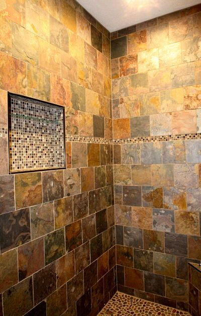Interior Of A Master Bath Walk In Shower With Bench And Stone Tile Design By Mcclurg