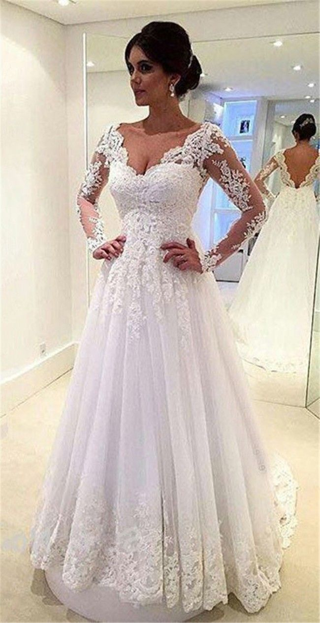 Princess A Line Scalloped Neck Long Sleeve Tulle Lace Wedding Dress ...