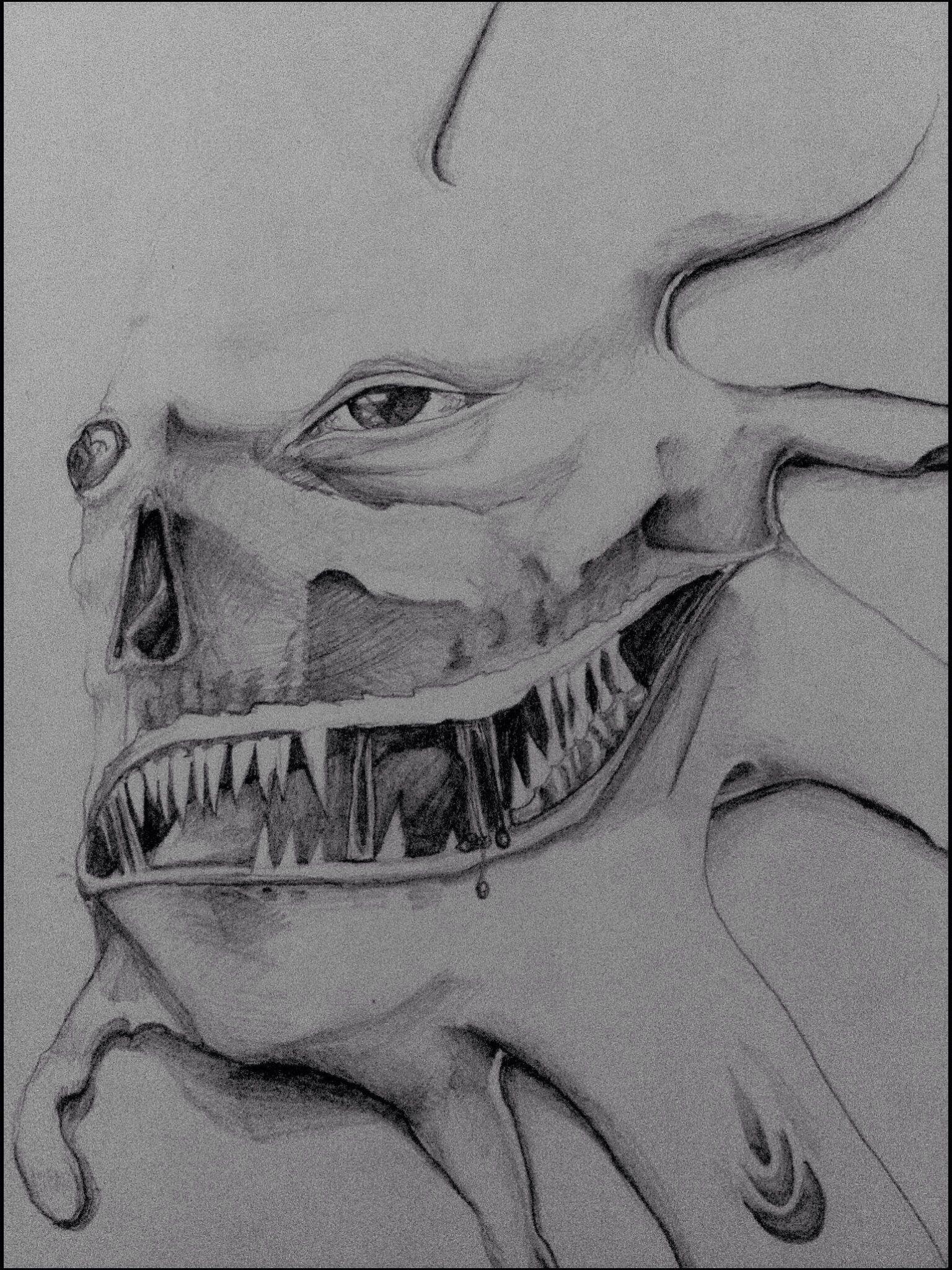 Fratze Face Monster Illustration Zeichnung bleistift | Sketches ...